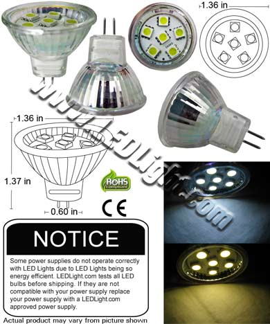 MR11 6 SMD LED Low Voltage 12 Volt AC DC