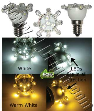 E12 Low Profile 12 LEDs Light Bulb 120V A.C.