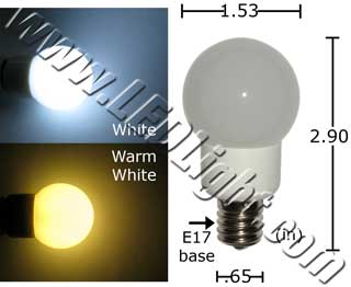 1.5 Watt Appliance G40 E17 Base LED Light Bulb