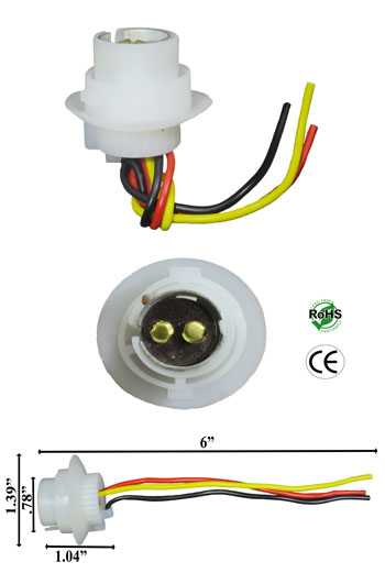 BA15D Socket Plastic with Wires