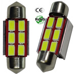 Festoon 3 Watt 6 LED 5730 SMD 12 VDC 1-1/2-Inches 36mm