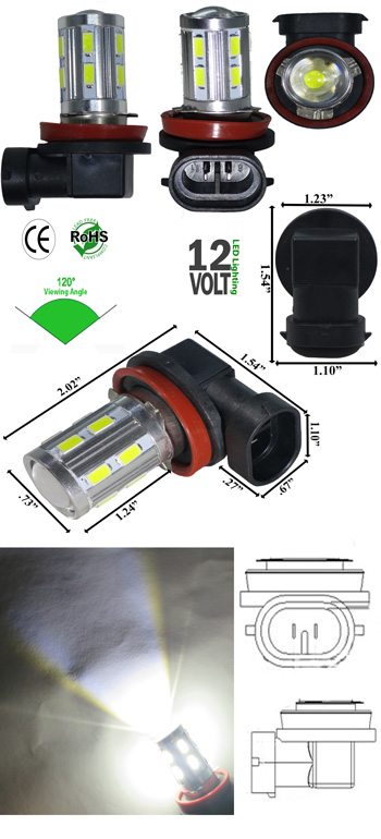 12 Volt Led Fog Lights : Fog h watt smd light volt dc