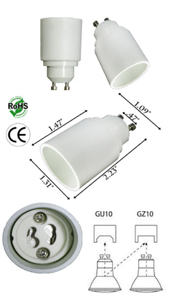 GU10 male To GZ10 female Adapter Converter Lamp Holder