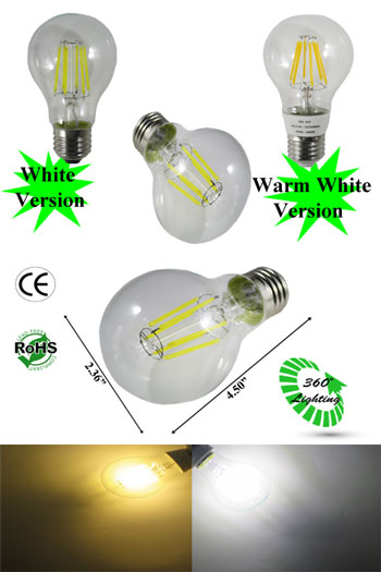 A19 LED Filament 6W E27 120VAC Non Dimmable