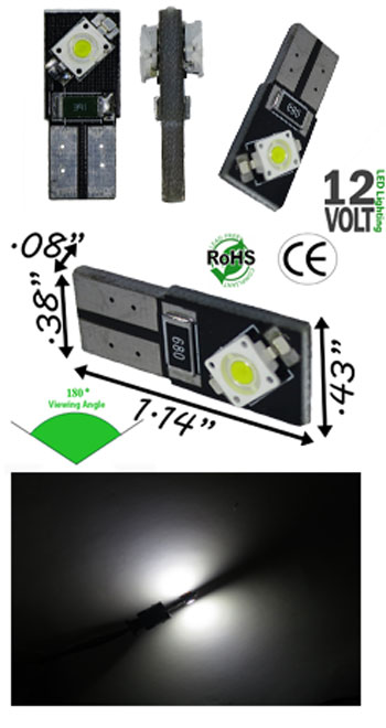 T10 Wedge CAN Bus  2 LED 7060 SMD 12 Volt DC