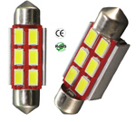 Festoon 39mm 3 Watt 6 x 5730 SMD 12V AC/DC 1 1/2 inch