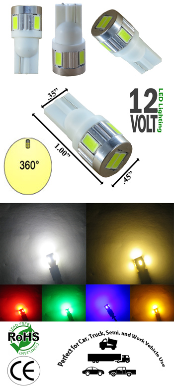 Image for T10 Wedge 6 SMD 5630 Ultra Bright 360 Degree 12 Volt D.C.