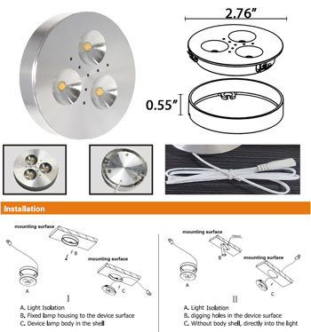 Puck LED Under Cabinet Light  12VDC 3 Watt