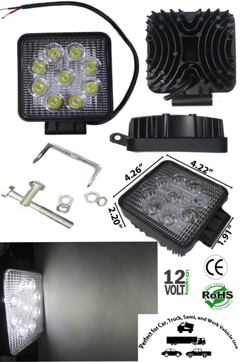 LED Off Road Work Light 27 Watt 10-30VDC IP67 30 Deg Square