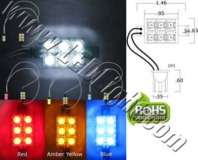Super Flux Custom 6 LED Light 12 VDC