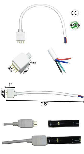 Harness, 4 Pin, RGB Color, Wires, White