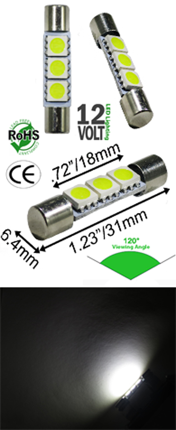 Image for Festoon T6 3 SMD LED 31mm Bulb