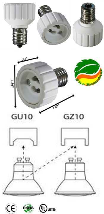 E17 male to GU10-GZ10 female Converter Adapter
