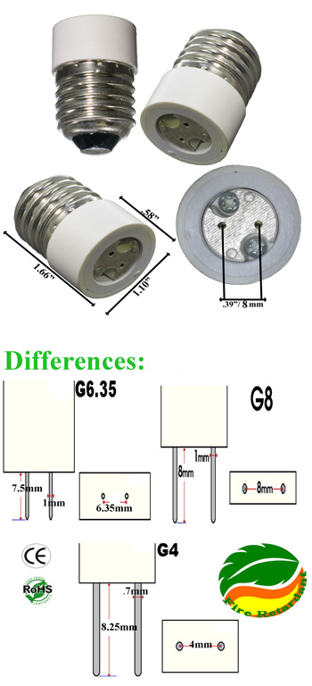 E27 male to G8 female converter product 24115