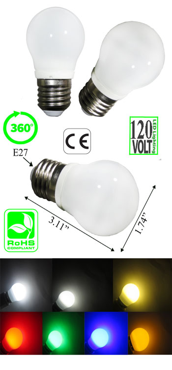 Image of a led light bulb E26 ping pong size g45