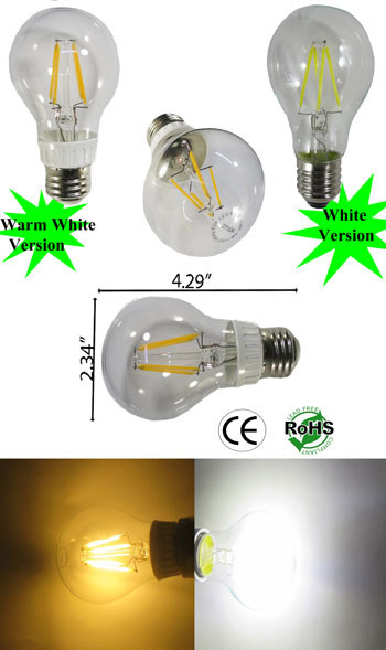A19 LED Filament 4W E27 120VAC Non Dimmable
