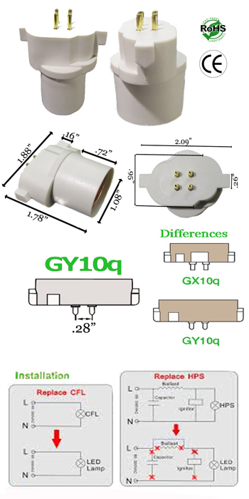 GY10Q male to E27 female Adapter Lamp Holder