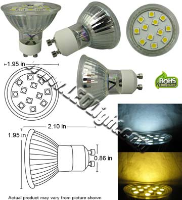 GU10 12 SMD LED Light 120 VAC