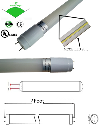 T8 T12 8 Watt LED Tube 85-135VAC G13 2 Foot