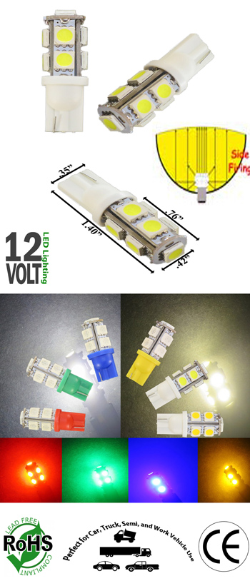 #194 Miniature Bulb T10 Wedge Base 9 SMD 12V DC T3 1/4