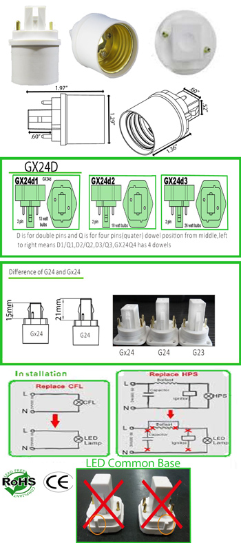 Image for GX24 2 Pin male to E27 female Converter