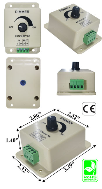 Dimmer Low Voltage One Channel 8A 12VDC 96W