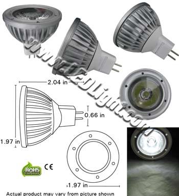 MR16 One by 3 Watt LED Light Bulb