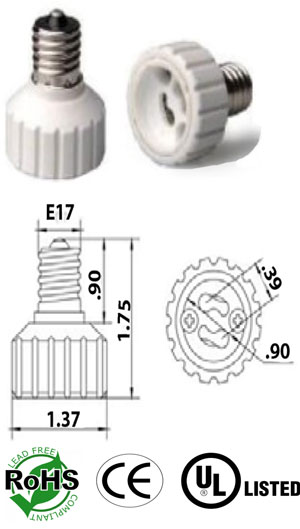 E17 Screw male to GU10 female Adapter