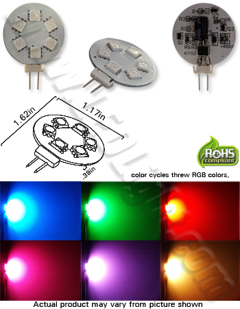 G4 GY6.35 6 SMD RGB Color Changing 12V AC or DC