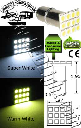 S25 12 SMD Long Stem LED Light 12 VDC