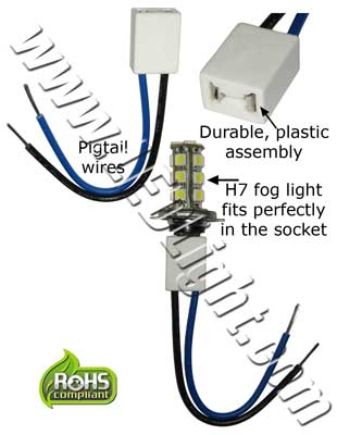 H7 Socket/Adapter with Pigtail wires on pigtail socket, pigtail harness, pigtail fuses,