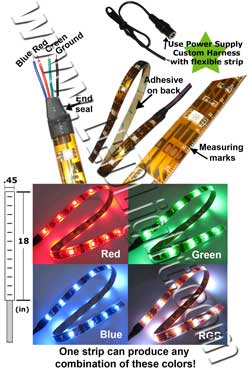Flexible 5050 SMT LED RGB Light 18 Inches / .5 Meter 12 Volt DC