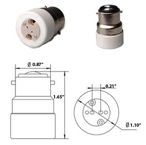 B22 male to MR16 female Converter Adapter