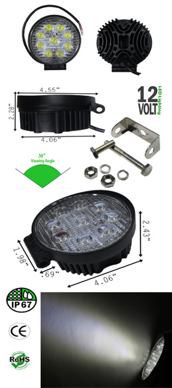 LED Off Road, Driving Work Light 27 Watt 10-30VDC IP67 30 Deg Round