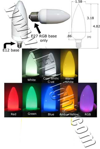Candle LED Light Bulb 120VAC E12