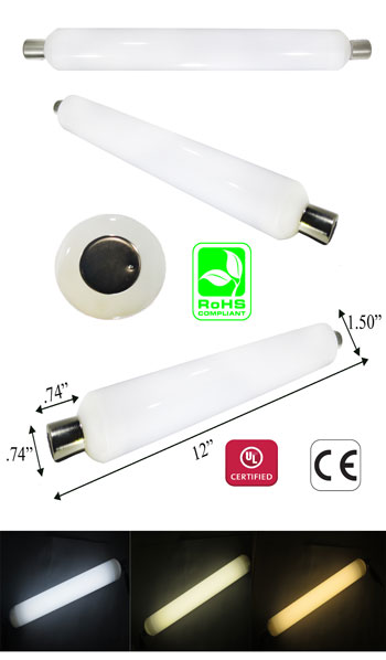 S19 Linear Tube LED 10 Watt 85-265V 330 Degree S14 Base