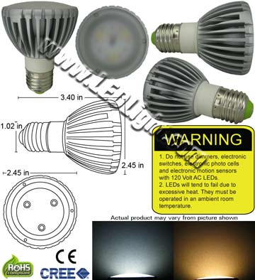 PAR20 6 Watt LED 85-265 VAC E26 30 Degree