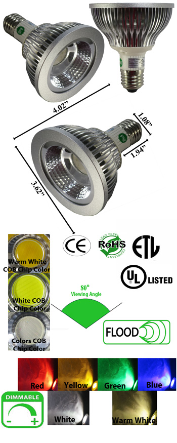 Image for Par 30 10 Watt Dimmable LED 120VAC 80 Degree E27
