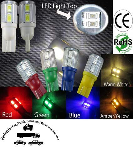 T10 Wedge 10 5630 SMD LED Bulb 12 V.D.C.
