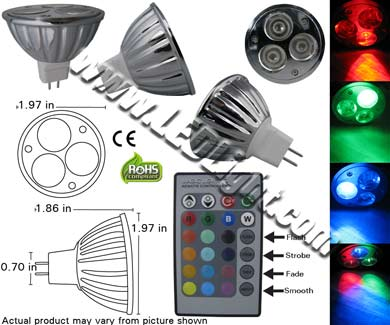 picture of a mr16 led bulb RGB remote control
