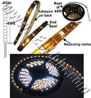 Flexible 5050 SMT LED Light 15 Feet / 5 Meter Low Voltage 12 Volt DC