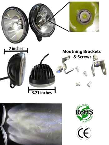 9 Watt LED Driving 10-30 Volt DC 3 by 3 Watt Spot Pair