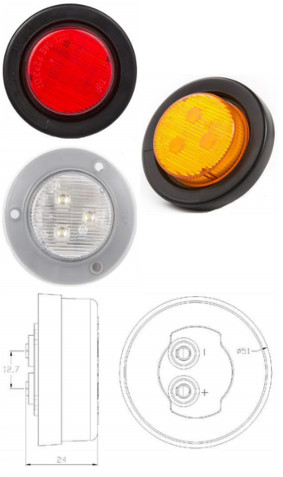 "2"" Round Sealed Side Marker and Clearance Light"