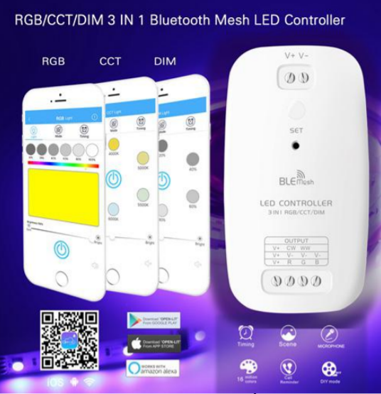 LED 3 In 1 RGB/CCT/DIM Bluetooth Mesh Controller 9-24V 3 Ch