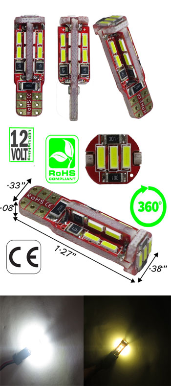 T10 CAN Bus 4014 19 LED 360 Viewing 12 VDC T3 1/4