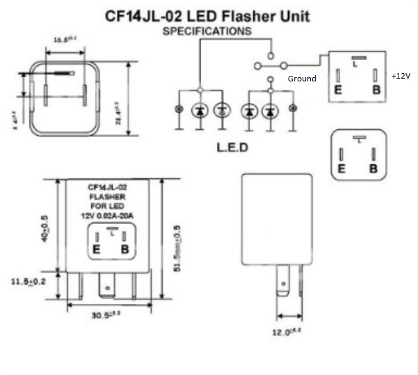Flasher LED 12V 150W 3 Terminal Compatible With EP34 CF13GL-02