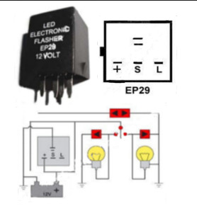 EP29 EP29L Flasher LED Compatible 12 VDC 150 Watt 4 Terminal