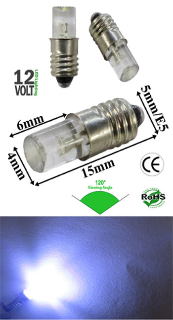 Midget Screw Concave LED Light 12 VDC 90 Degree Dim-able E5