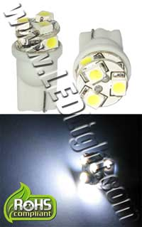 Image for 6 SMD 1201 L.E.D. 3 Forward/ 3 Side T10 Wedge Light