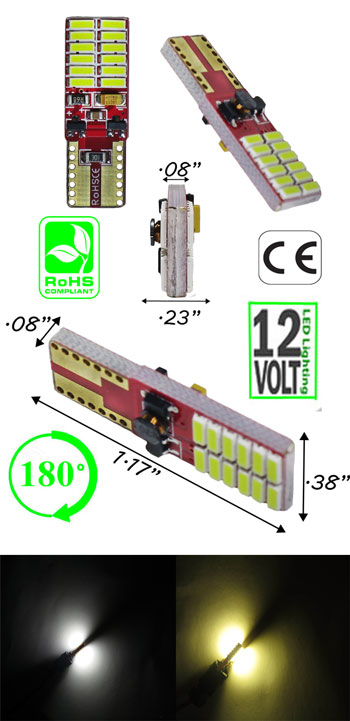 T10 Wedge CAN Bus 24 LED 4014 12 Volt DC T3 1/4